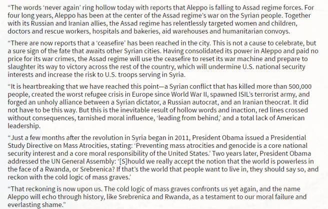 Le communiqué de John McCain et Lindsey Graham au sujet d'Alep