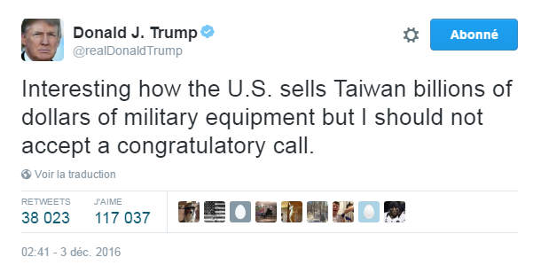 Traduction: Intéressant que les Etats-Unis vendent à Taïwan des milliards de dollars en équipement militaire mais je ne devrais pas accepter de recevoir un coup de téléphone de félicitations.