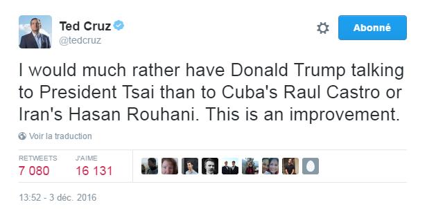 Traduction: Je préfère que Donald Trump parle avec la présidente Tsai qu'avec le président cubain Raul Castro ou le président iranien Hasan Rouhani. C'est un progrès.