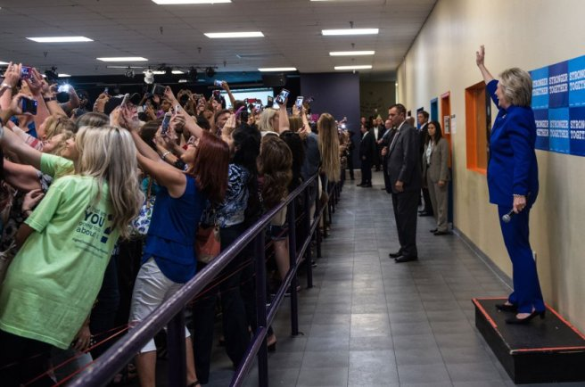 Hillary Clinton poses for selfies at an Orlando, Fla., event on Sept, 21, 2016.