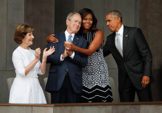 Barack Obama, Michelle Obama, Laura Bush