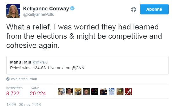 Traduction: Quel soulagement. J'avais peur qu'ils n'apprennent quelque chose des élections & qu'ils puissent être à nouveau compétitifs et cohésifs.