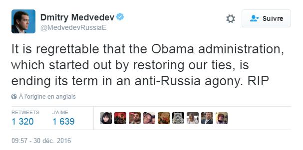 Traduction: Il est regrettable que l'administration Obama, qui avait commencé par restaurer nos liens, finisse son mandat dans une agonie anti-Russie. RIP