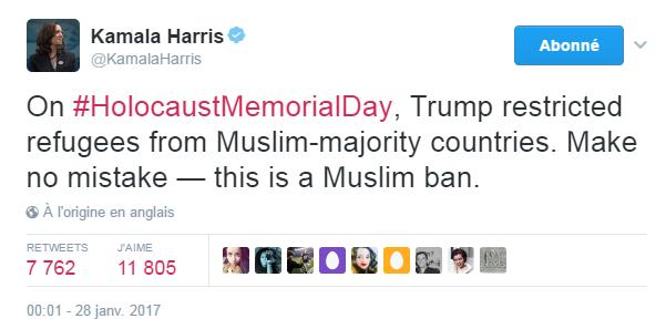 Traduction: Le jour de la journée internationale de l'Holocauste, Trump a interdit les réfugiés de pays à majorité musulmane. Ne vous méprenez pas - il s'agit d'un Muslim ban.