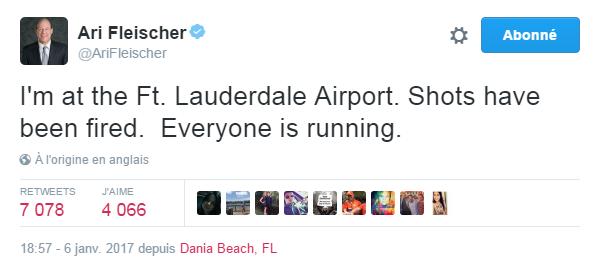 Traduction: Je suis à l'aéroport de Ft. Lauderdale. Des coups de feu ont été tirés. Tout le monde est en train de courir.