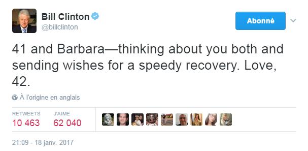 Traduction: 41 et Barbara - je pense à vous deux et je vous envoie mes voeux pour un rétablissement rapide. Love, 42