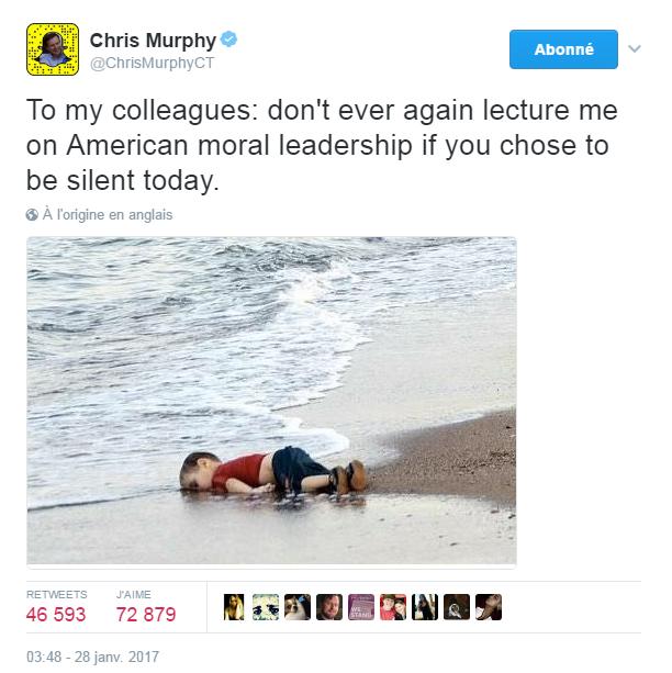 Traduction: À mes collègues: ne me donnez plus jamais de leçons sur le leadership moral américain si vous choisissez de vous taire aujourd'hui.