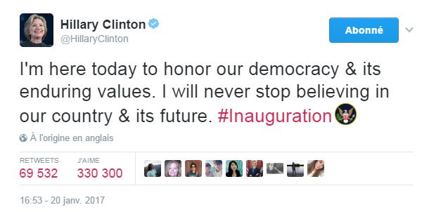 Traduction: Je suis ici aujourd'hui pour faire honneur à notre démocratie & à ses valeurs durables. Je ne cesserai jamais de croire en notre pays & son futur.