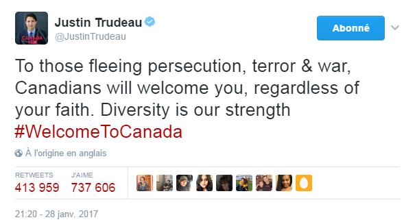 Traduction: À ceux qui fuient la persécution, le terrorisme & la guerre, les Canadiens vous accueilleront, qu'importe votre foi. La diversité est notre force.