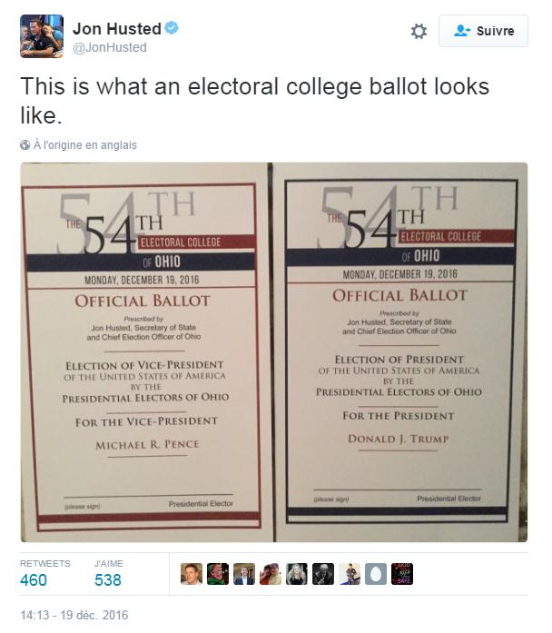 Traduction: Voici à quoi ressemble un bulletin de vote du Collège Électoral.