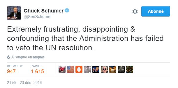 Traduction: Extrêmement frustrant, décevant & déconcertant que l'administration ait échoué à opposer son veto à la résolution des Nations Unies.
