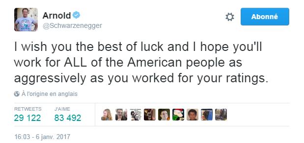 Traduction: Je te souhaite bonne chance et j'espère que tu travailleras pour TOUS les américains de façon aussi aggressive que tu ne l'as fait pour tes audiences.