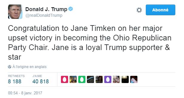 Traduction: Félicitations à Jane Timken pour sa victoire pour devenir présidente du Parti Républicain de l'Ohio. Jane est une fidèle supportrice de Trump & une star.