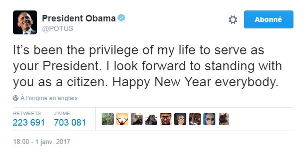 Traduction: Ce fut le privilège de ma vie d'être votre Président. Je suis impatient d'être à vos côtés en tant que simple citoyen. Bonne année à tous.