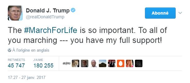 Traduction: La March for Life est tellement importante. À tous ceux qui y participent - vous avez tout mon soutien!
