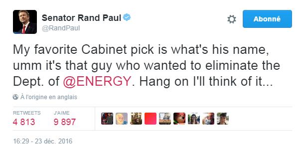 Traduction: Mon choix favori pour le Cabinet est quel est son nom, umm c'est ce type qui voulait éliminer le Département de l'Energie. Attendez un instant, je vais y réfléchir...