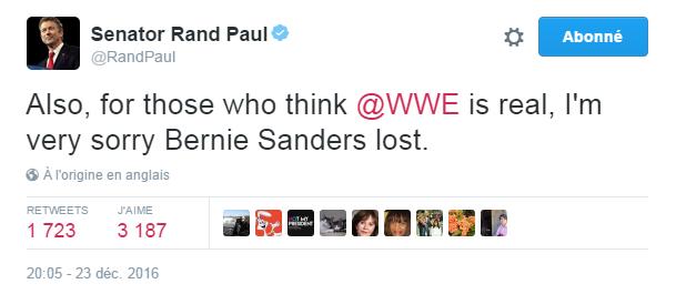 Traduction: Aussi, pour ceux qui pensent que la WWE (ndlr: le championnat de catch américain) est sérieuse, je suis vraiment désolé que Bernie Sanders ait perdu.