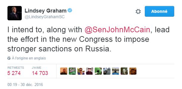 Traduction: J'ai l'intention, avec John McCain, de mener le combat au sein du nouveau Congrès pour imposer des sanctions plus fortes contre la Russie.