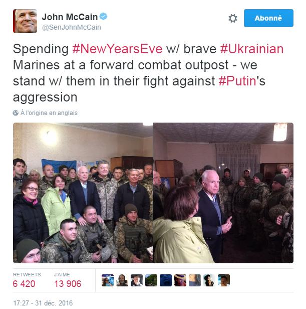 Traduction: En train de passer le réveillon de Nouvel An avec les courageux Marines ukrainiens dans leur avant-poste - nous les soutenons dans leur combat contre l'agression de Poutine