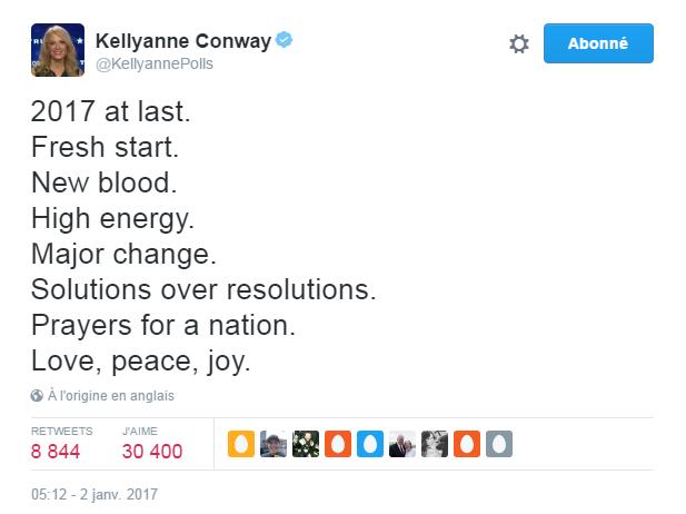 Traduction: Enfin 2017. Un nouveau départ. Du sang neuf. Beaucoup d'énergie. Un changement considérable. Des solutions plutôt que des résolutions. Des prières pour la nation. L'amour, la paix, la joie.