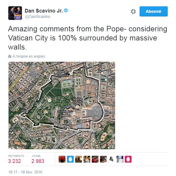 Traduction: Remarques incroyables du Pape - étant donné que la cité du Vatican est à 100% entourée d'énormes murs.