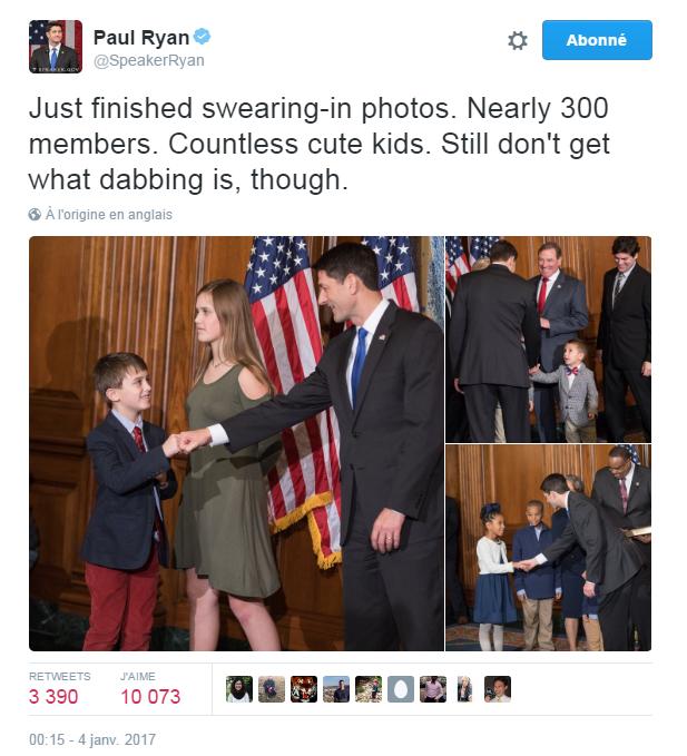 Traduction: Je viens de finir les photos des prestations de serment. Presque 300 personnes. De très nombreux enfants adorables. Toutefois, je ne comprends toujours pas ce qu'est le dabbing.