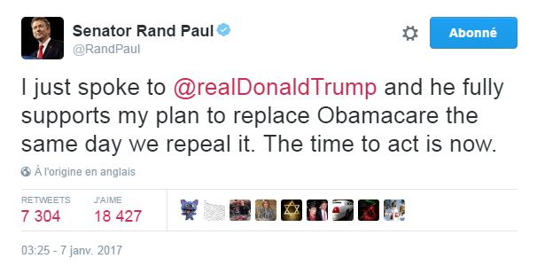 Traduction: Je viens de parler avec Donald Trump et il soutient totalement mon plan consistant à remplacer l'Obamacare le même jour que celui de son abrogation. Il est temps d'agir.