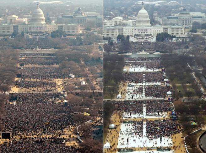 À gauche, la cérémonie d'investiture de Barack Obama en 2009. À droite, celle de Donald Trump en 2017.