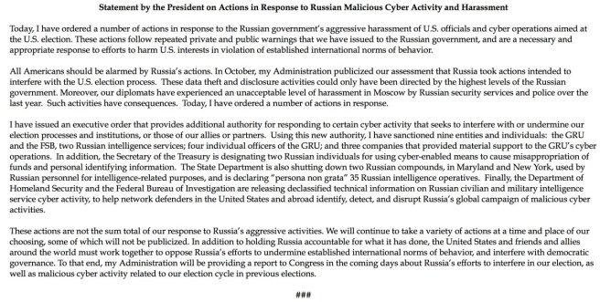 Communiqué de la Maison Blanche au sujet des sanctions contre la Russie, 29 décembre 2016