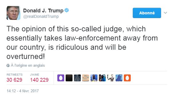 Traduction: L'opinion de ce soi-disant juge, qui met à mal l'application de la loi dans notre pays, est ridicule et sera annulée!
