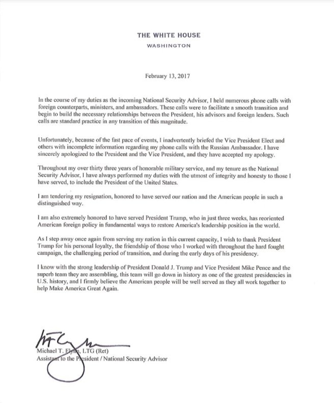 La lettre de démission de Michael Flynn