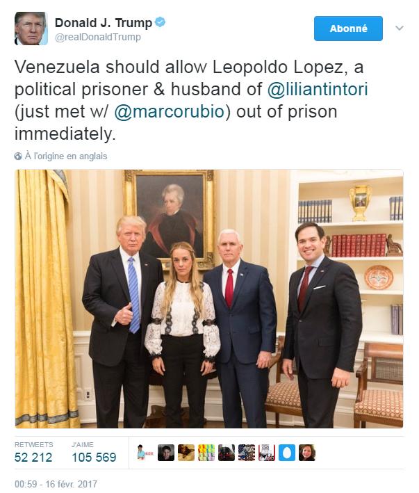 Traduction: Le Venezuela devrait autoriser Leopoldo Lopez, un prisonnier politique et le mari de Lilian Tintori (nous venons de rencontrer Marco Rubio) à sortir immédiatement de prison.