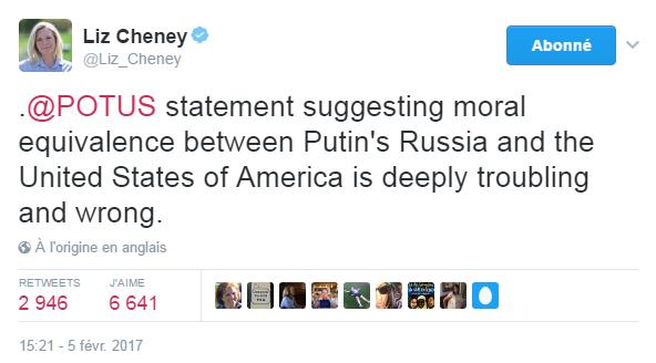 Traduction: La déclaration du président suggérant une équivalence morale entre la Russie de Poutine et les Etats-Unis d'Amérique est profondément inquiétante et injuste.
