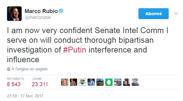 Traduction: Je suis maintenant convaincu que le comité du renseignement du Sénat dont je fais partie va mener une enquête bipartisane minutieuse sur l'interférence et l'influence de Poutine