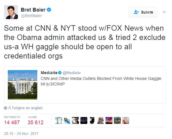 Traduction: Certains à CNN & au New York Times ont soutenu Fox News quand l'administration Obama nous a attaqués et a essayé de nous exclure. Un briefing de la Maison Blanche devrait être accessible à toutes les organisations accréditées.