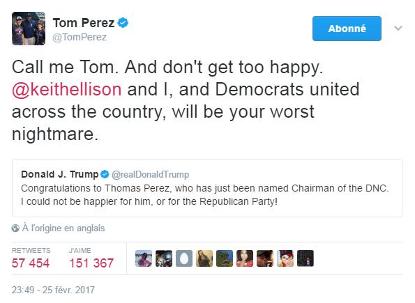 Traduction: Appelle-moi Tom. Et ne sois pas si heureux. Keith Ellison et moi, et les Démocrates unis à travers le pays, nous serons ton pire cauchemar.