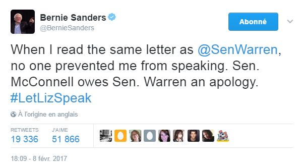 Traduction: Lorsque j'ai lu la même lettre qu'Elizabeth Warren, personne ne m'a empêché de parler. Le sénateur McConnell doit des excuses à la sénatrice Warren.