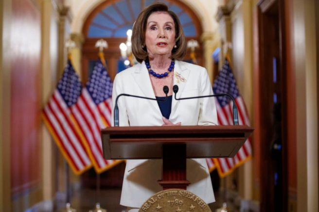 Speaker of the House Nancy Pelosi announces she is asking for the House Judiciary Committee to proceed with articles of impeachment against US President Donald J. Trump, Washington, USA - 05 Dec 2019